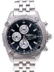 Fake Breitling Watches Breitling Chronomat Blue Dial Silver Sub Dial Triple Chronograph Stainless Steel [0f69]
